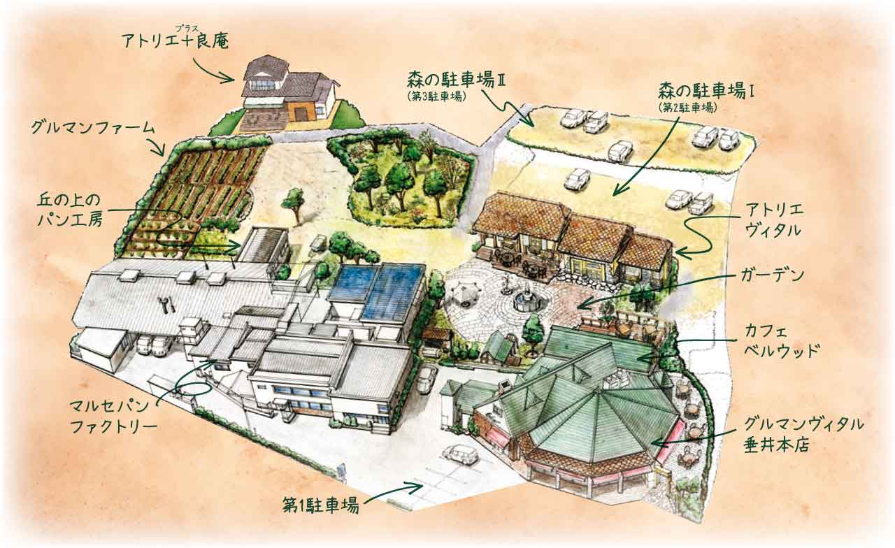 パンの森のイラストマップ